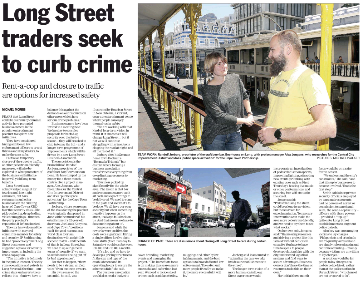 Long Street association seek to curb crime Cape Argus